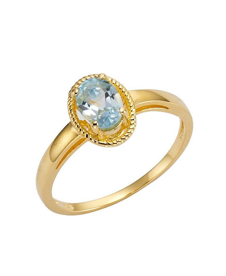 firetti Ring mit Blautopas in Silber 925/goldfb. vergoldet/blau