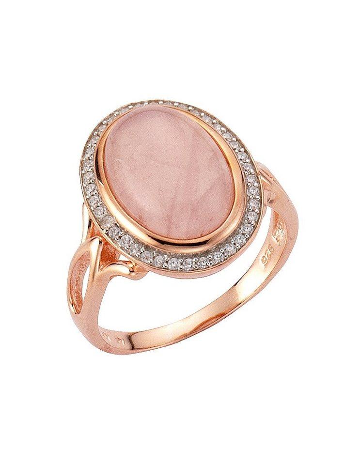 firetti Ring mit Rosenquarz und Zirkonia in Silber 925/überw. roségoldfb. vergoldet/rosa