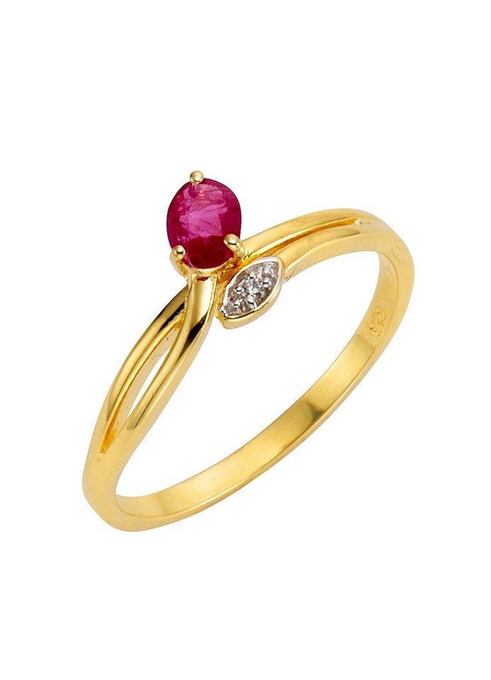 firetti Ring mit Rubin und Zirkonia in Silber 925/überw. goldfb. vergoldet/rot