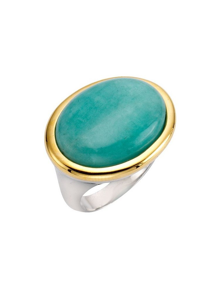firetti Ring mit Amazonit in Silber 925/tw. goldfb. vergoldet/türkisfarben