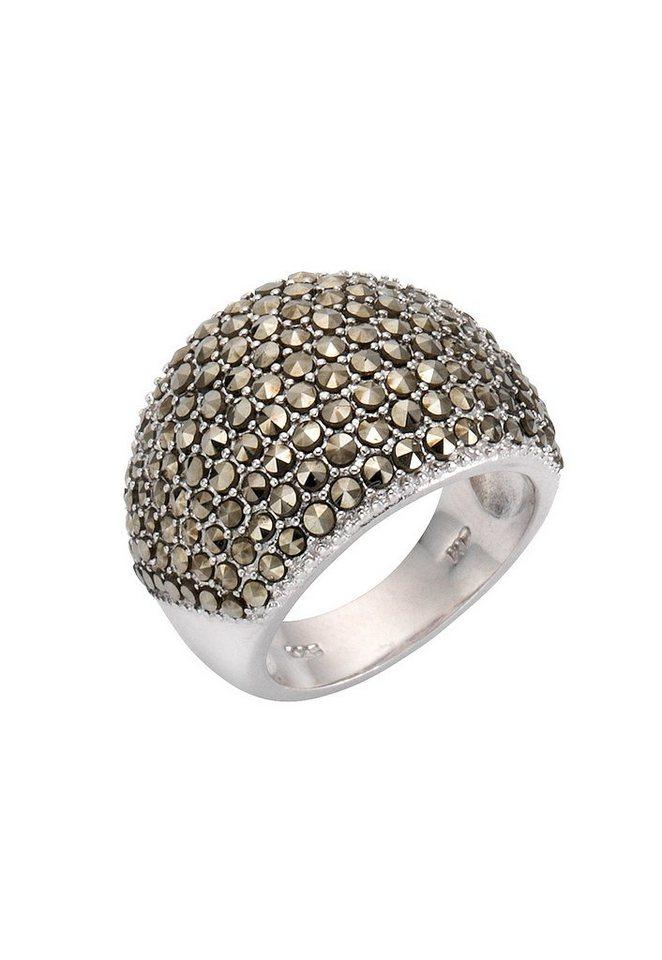 firetti Ring mit Markasit in Silber 925/grau