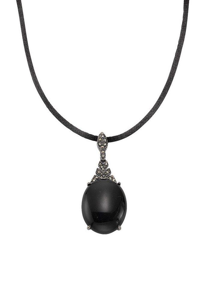 firetti Anhänger mit Obsidian und Markasit in Silber 925/schwarz