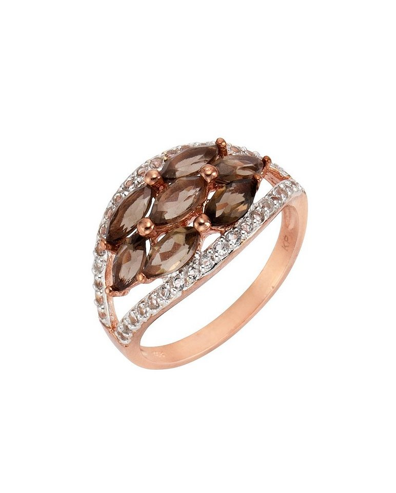 firetti Ring mit Rauchquarz und Weißtopas in Silber 925/überw. roségoldfb. vergoldet/braun