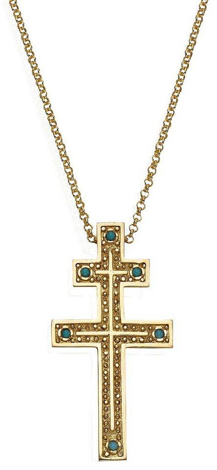 firetti Anhänger mit echtem Türkis, »Lothringer Kreuz« in Silber 925/goldfarben vergoldet