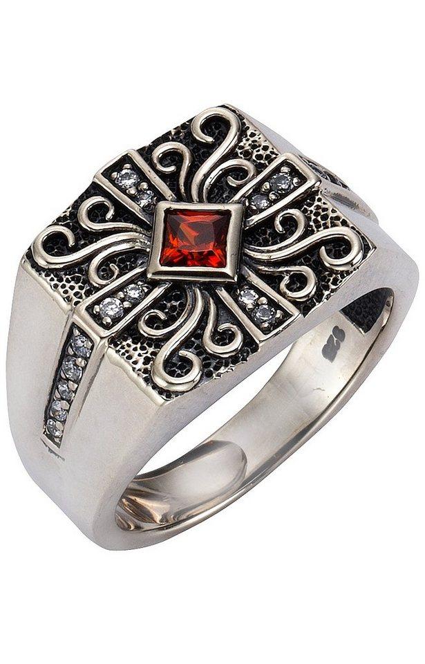 firetti Ring mit funkelnden Zirkonia in Silber 925/rot