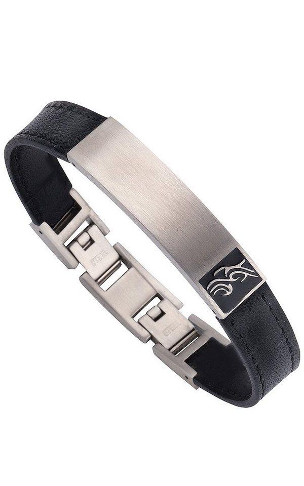 firetti Armband mit Tribal und Lederband in silberfarben/schwarz