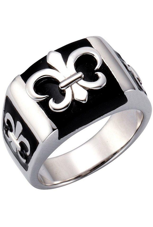 firetti Ring mit schwarzem Lack, »Fleur de Lys« in Silber 925/schwarz