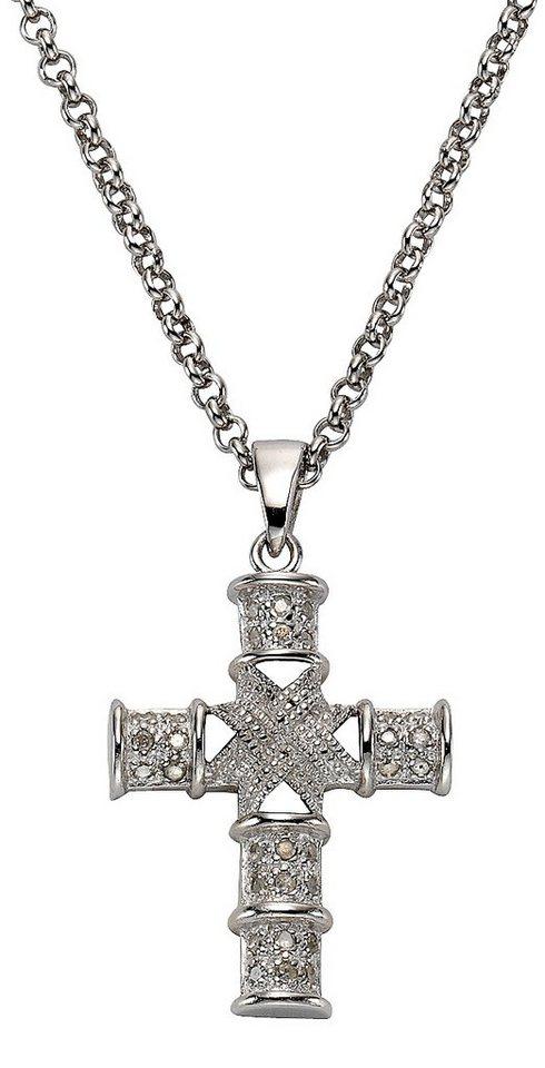 firetti Anhänger mit Diamanten, »Kreuz« in Silber 925