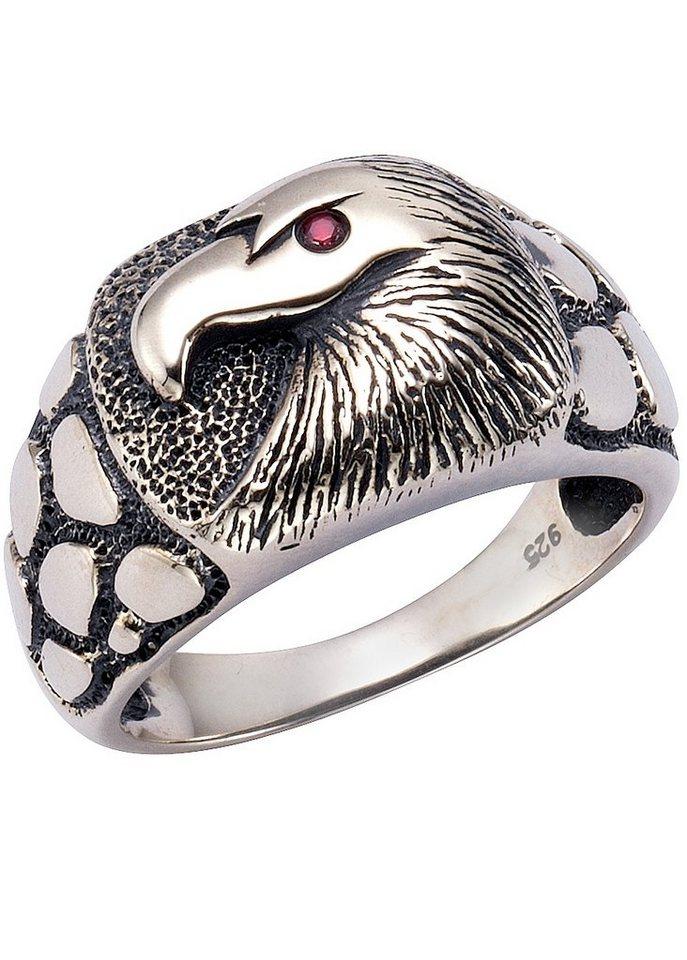 firetti Ring mit funkelndem Zirkonia, »Adler« in Silber 925/rot