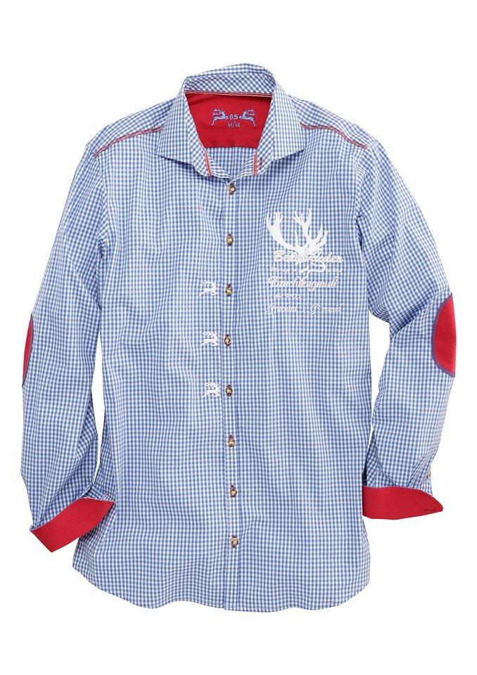 OS-Trachten Trachtenhemd mit trendiger Stickerei in blau/weiß