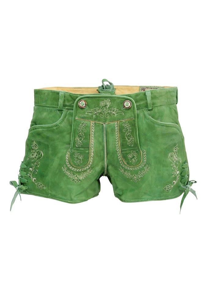 Stockerpoint Trachten-Lederhose kurz Damen mit besticktem Latz in grün
