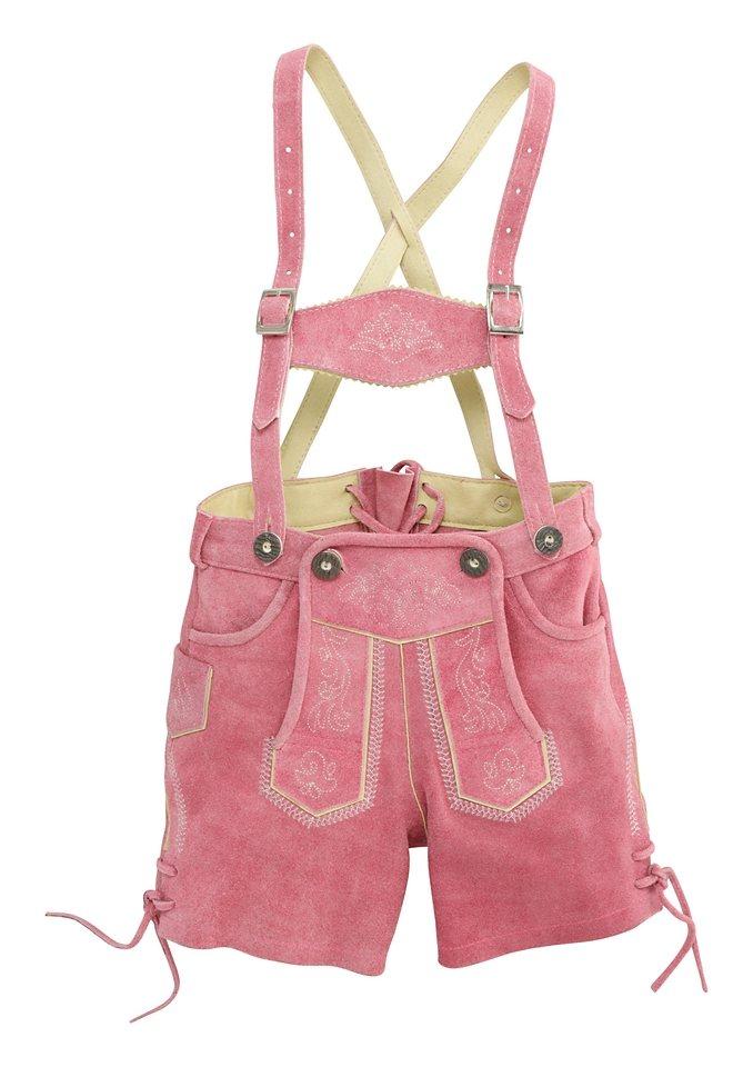 Marjo Trachten-Lederhose Kinder mit Stickerei in rosa