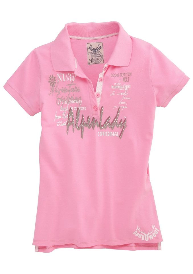 Marjo Trachtenshirt mit Hirschmotiv und Glitzersteinchen in pink