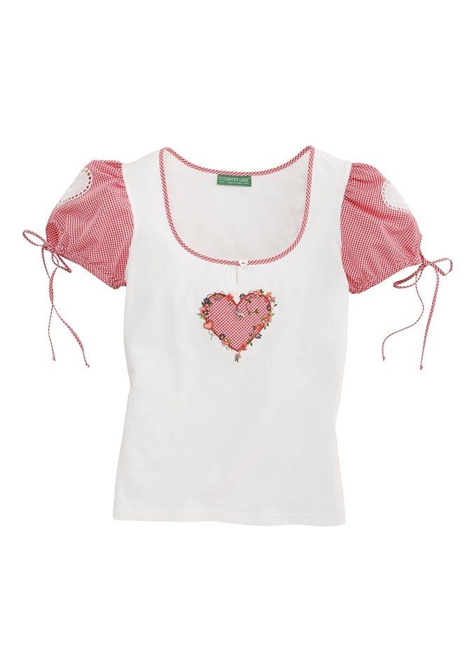 Trachtenshirt Damen mit Applikation, Country Line in weiss/rot