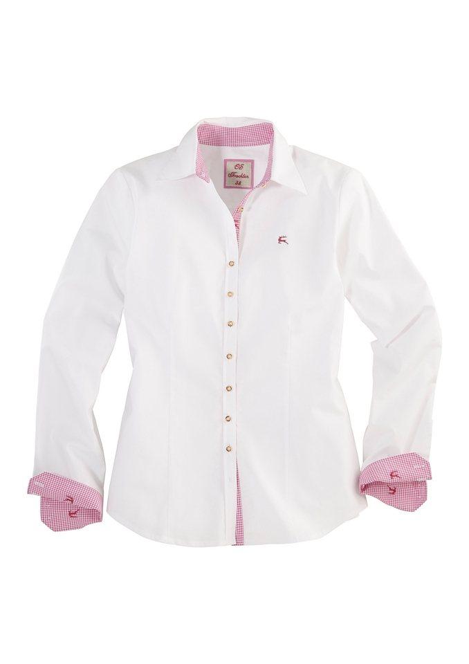 OS-Trachten Trachtenbluse, mit Karo als Kontrast in weiß/pink