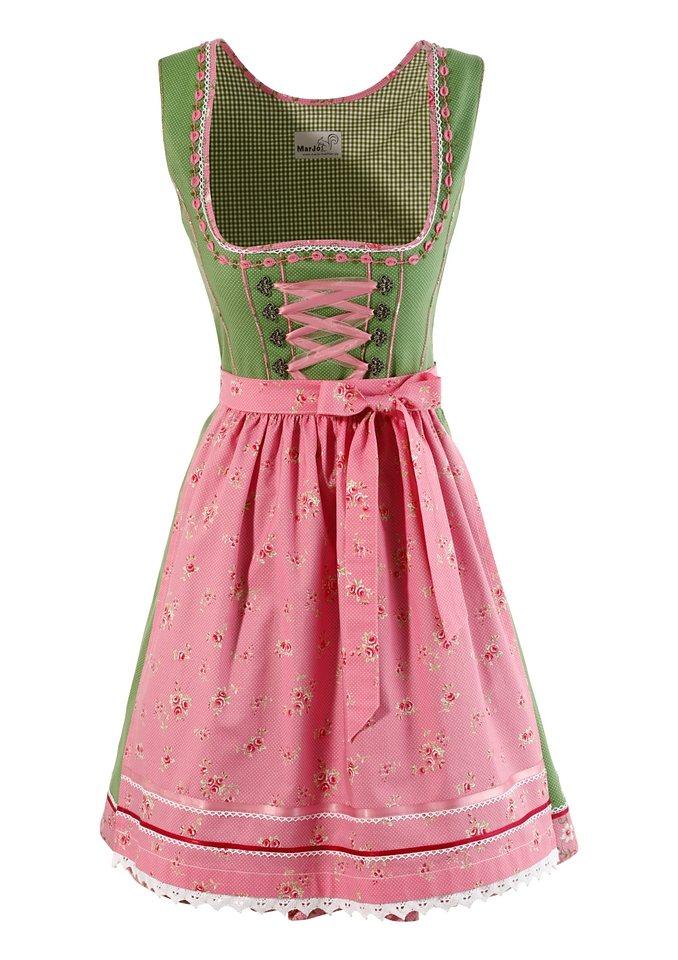 Marjo Dirndl kurz mit Bänderschnürung in gruen/rosa