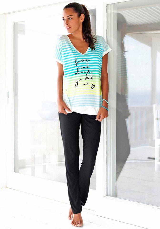 H.I.S Pyjama in leuchtenden Farben mit süßem Schriftzug in bunt gestreift/schwarz