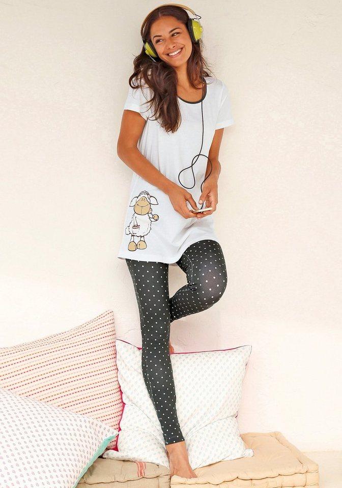 NICI Pyjama mit gepunkteter Leggings & Longshirt mit Schäfchenprint in ecru-taupe/gepunktet