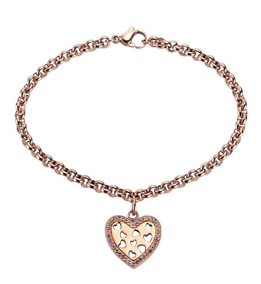 firetti Armschmuck: Armband »Herz« in Erbskettengliederung mit Kristallsteinen in roségoldfarben