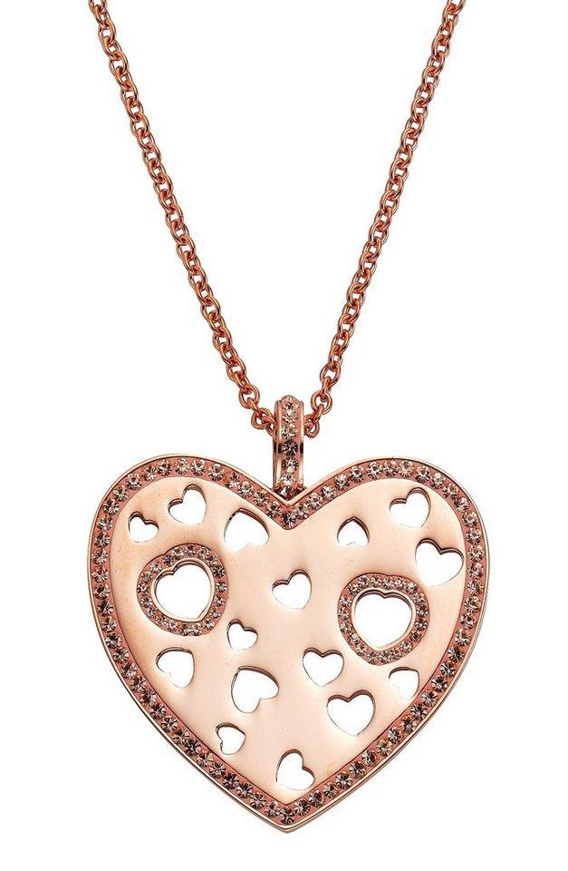 firetti Halsschmuck: Halskette »Herz« in Ankerkettengliederung mit Kristallsteinen in roségoldfarben