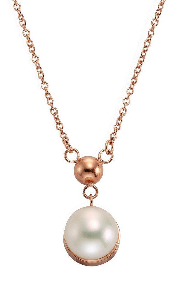 """firetti Halsschmuck: Halskette """"Perle"""" in Ankerkettengliederung in roségoldfarben/weiß"""