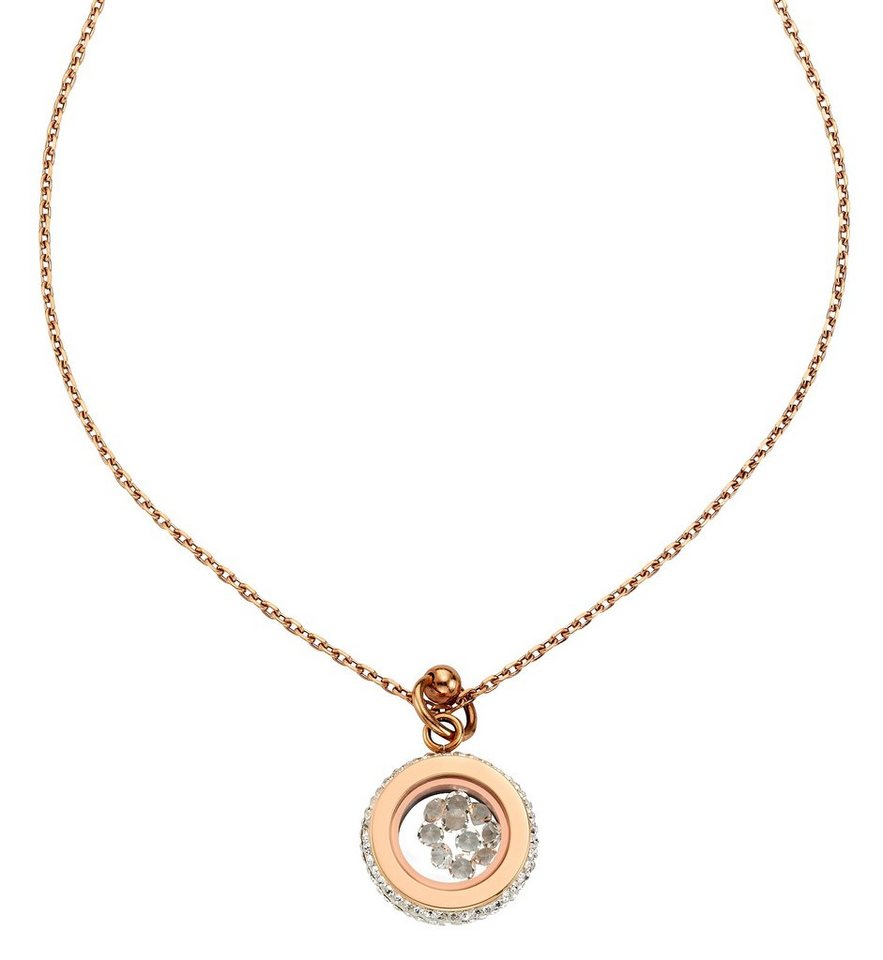 firetti Halsschmuck: Halskette in Ankerkettengliederung mit Kristallsteinen in roségoldfarben