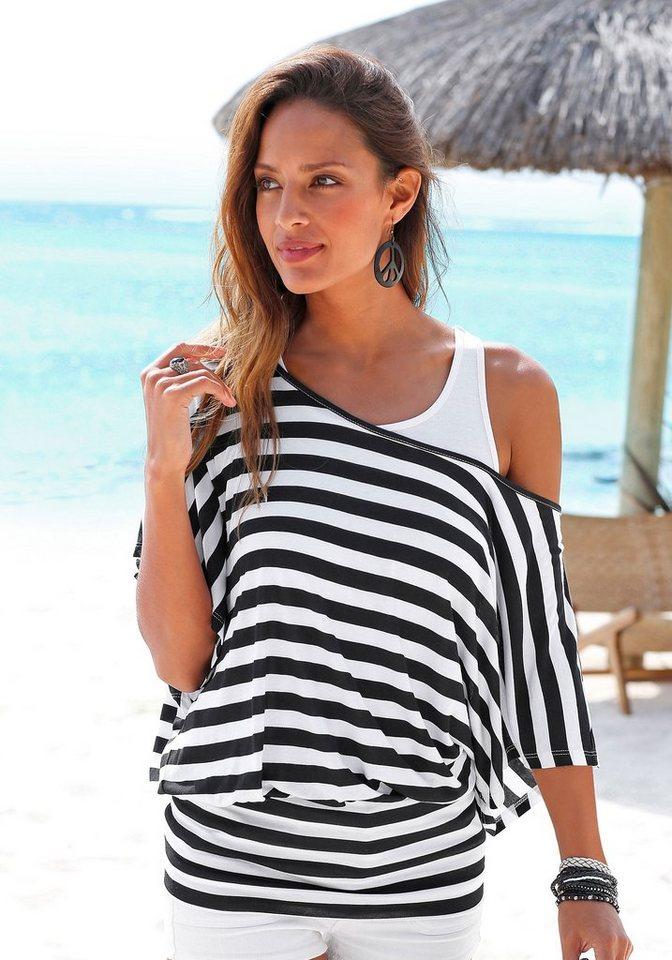 LASCANA 2-in-1-Shirt in schwarz-weiß