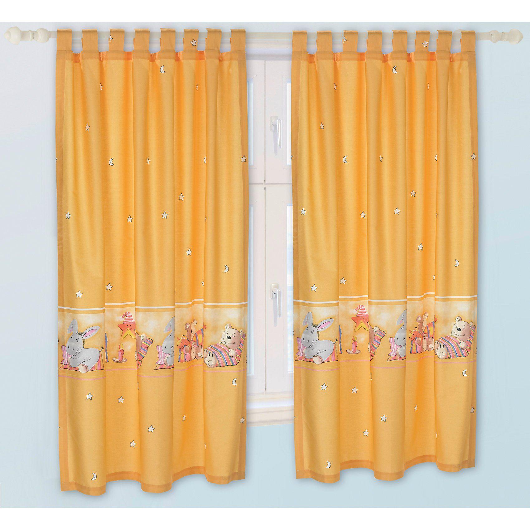 Alvi Vorhang Set Donkey, gelb, je 130 x 150 cm (2 Schals)