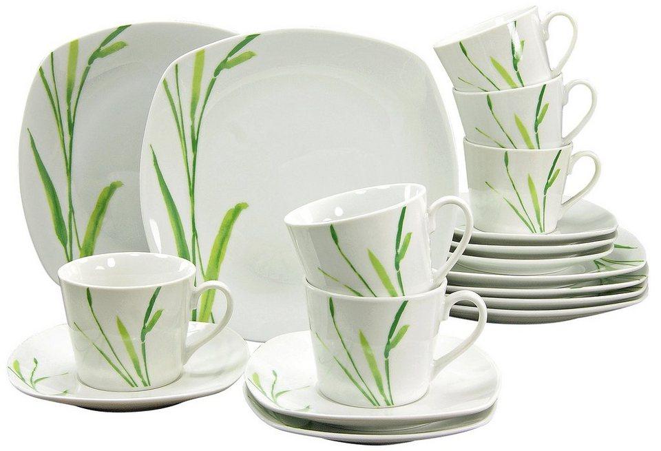 CreaTable Kaffeeservice, Porzellan, 18 Teile, »AMELIE Gräser« in weiß/mit Gräserdekor