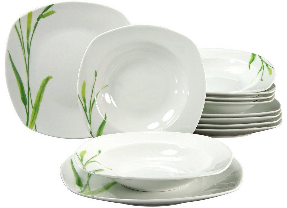CreaTable Tafelservice, Porzellan, 12 Teile, »AMELIE Gräser« in weiß/mit Gräserdekor
