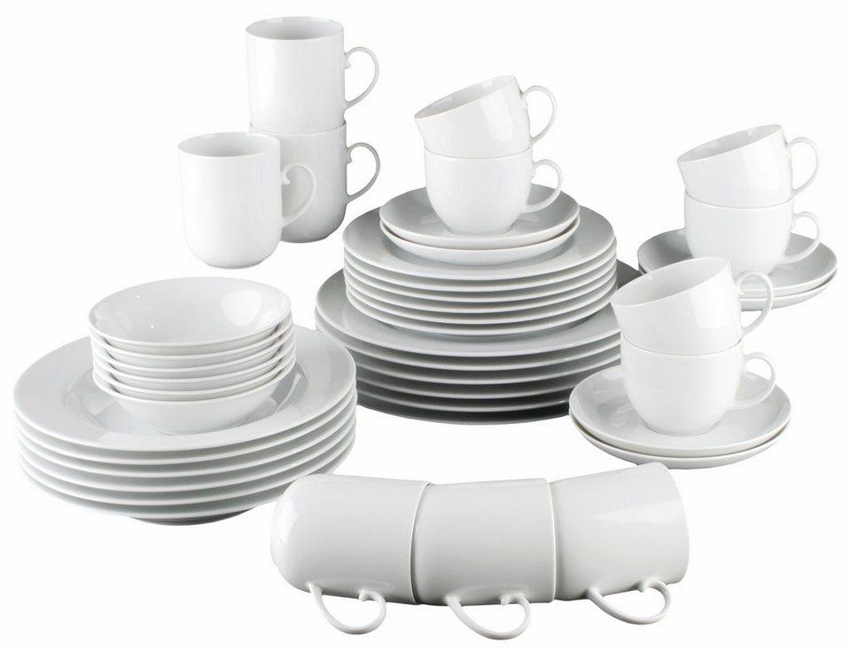 Seltmann Weiden Kombiservice, Porzellan, 42 Teile, »RONDO« in weiß