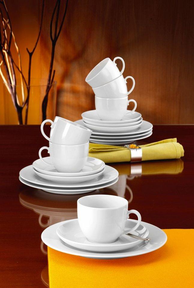 Seltmann Weiden Kaffeeservice, Porzellan, 18 Teile, »RONDO« in weiß