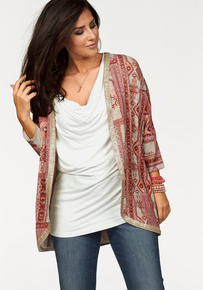 Apart Jackenblazer Plus Size in modischer Kimonoform in gemustert-bordeaux-beige-koralle