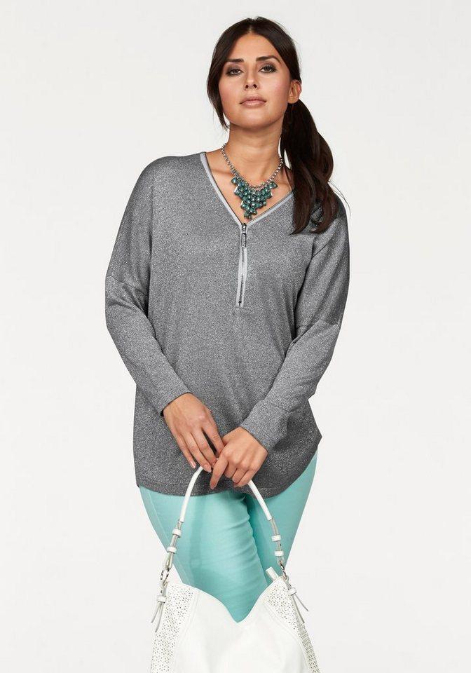 Apart Fledermauspullover Plus Size mit Metallreißverschluss in hellgrau-metallisierte Fasern-silberfarben