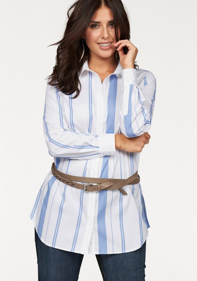 Apart Hemdbluse Plus Size in langer klassischer Form in hellblau-weiß