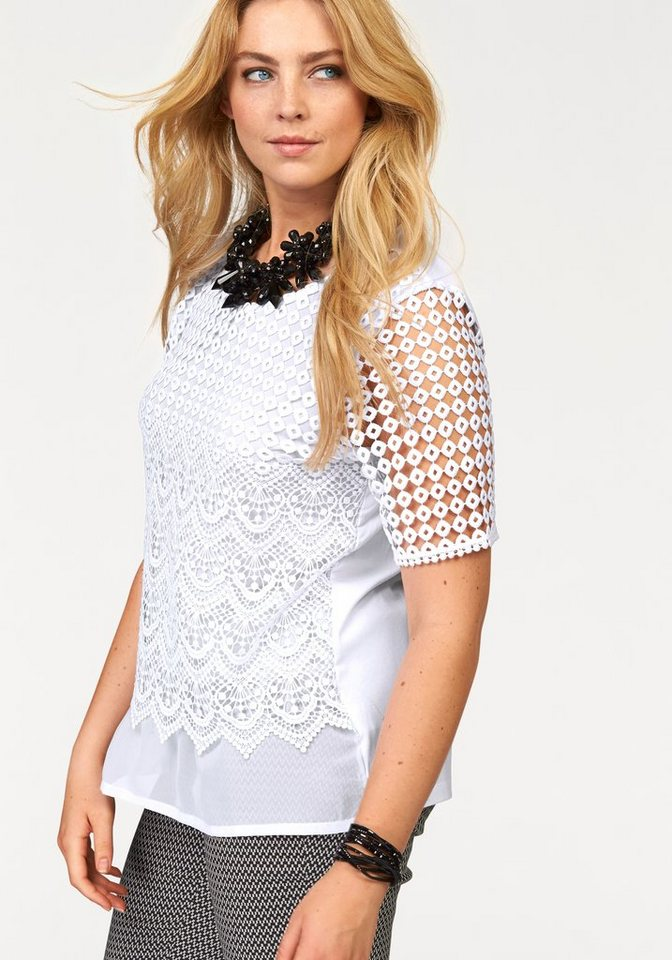 seeyou Layershirt mit Einsatz von hochwertiger Baumwollspitze in weiß
