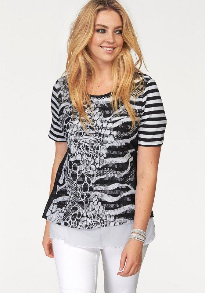 seeyou Layershirt mit apartem Material und Mustermix in schwarz-weiß