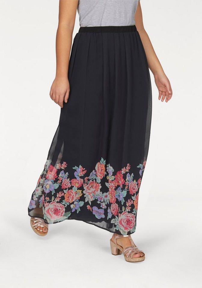 Apart Maxirock Plus Size mit Blumenbordürenmuster in schwarz-bedruckt-geblümt