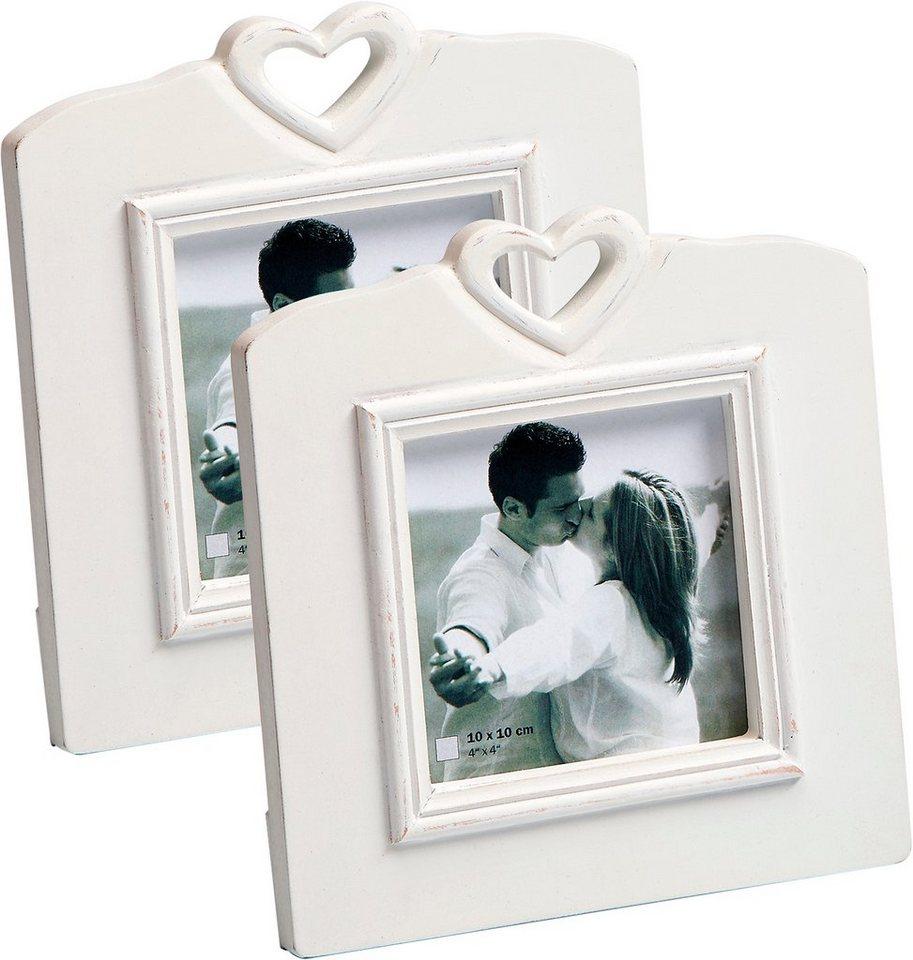 Home affaire Bilderrahmen »White Heart« (2er Set) in weiß
