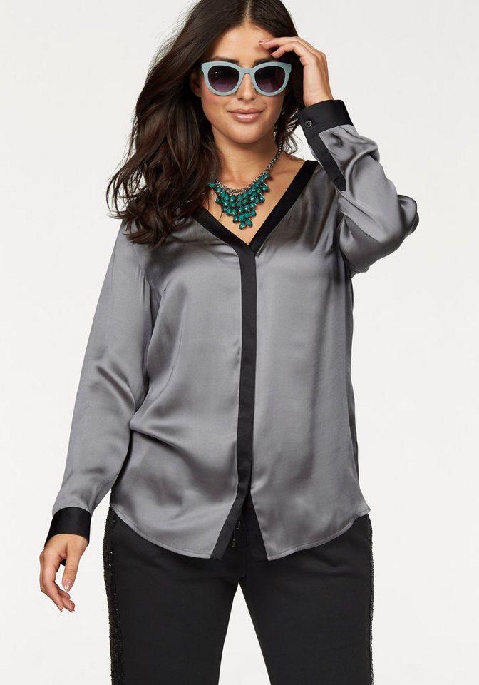 Apart Satinbluse Plus Size mit kontrastfarbenen Einsätzen in grau-schwarz