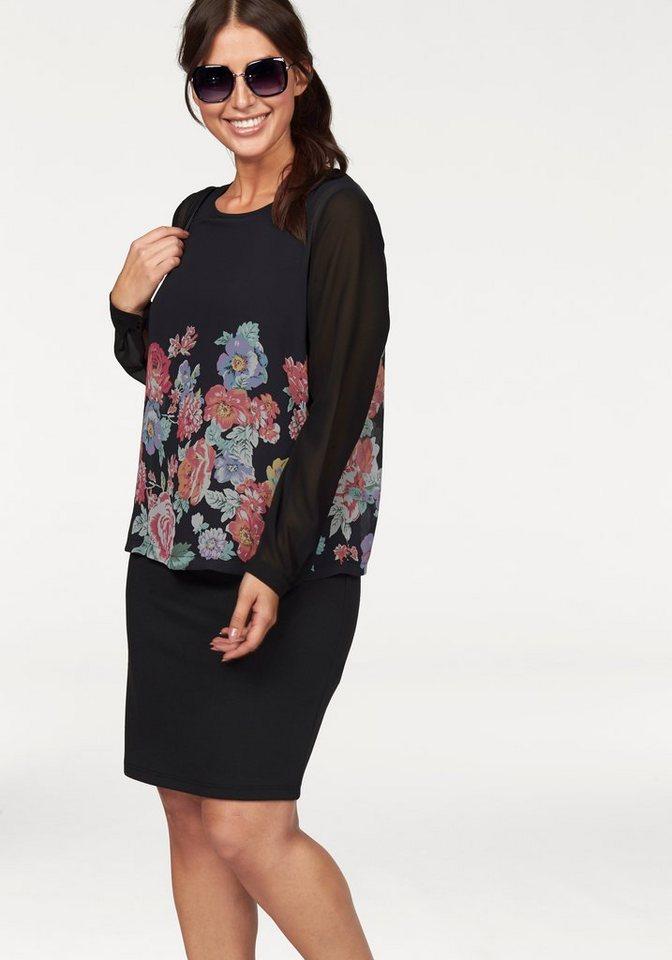 Apart Jerseykleid Plus Size 2 in 1 Optik in schwarz