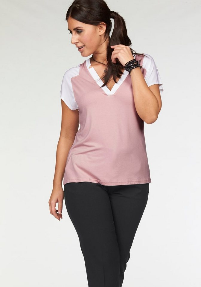 Apart T-Shirt Plus Size in Color Blocking Optik in colorblocking-rosé-weiß