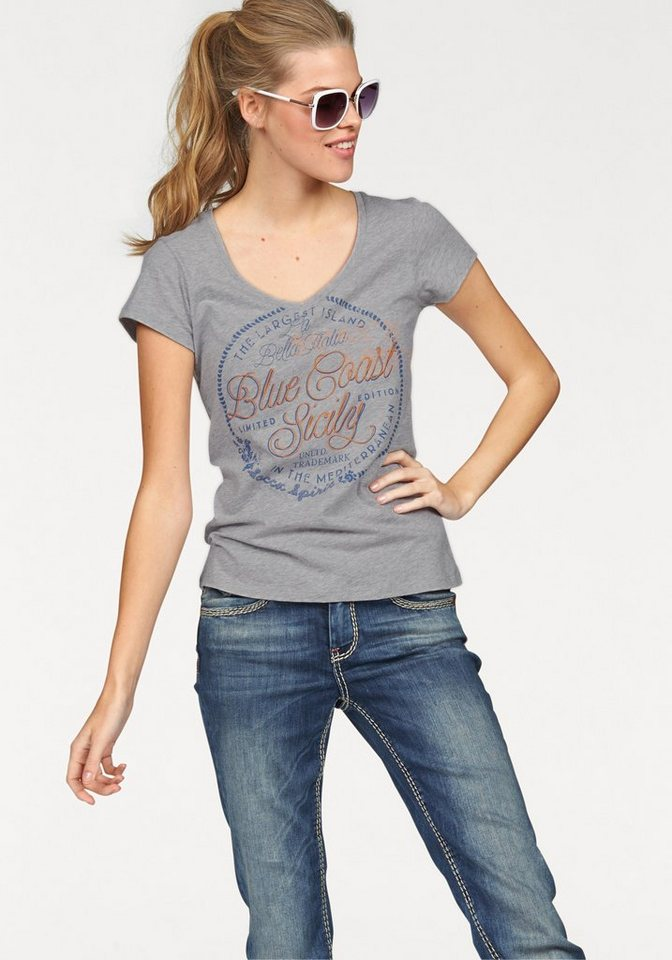SOCCX T-Shirt mit großem Frontprint in grau-meliert