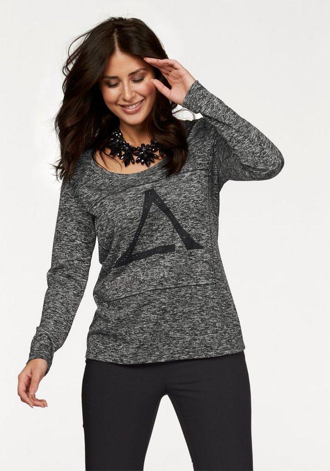 Apart Langarmshirt Plus Size mit Glitzerdruck und Strass-Steinen in grau-meliert