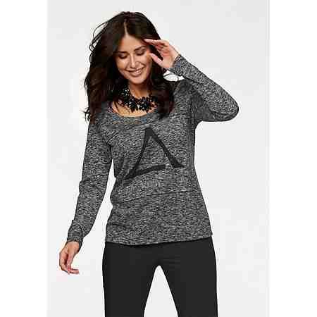 Apart Langarmshirt Plus Size mit Glitzerdruck und Strass-Steinen