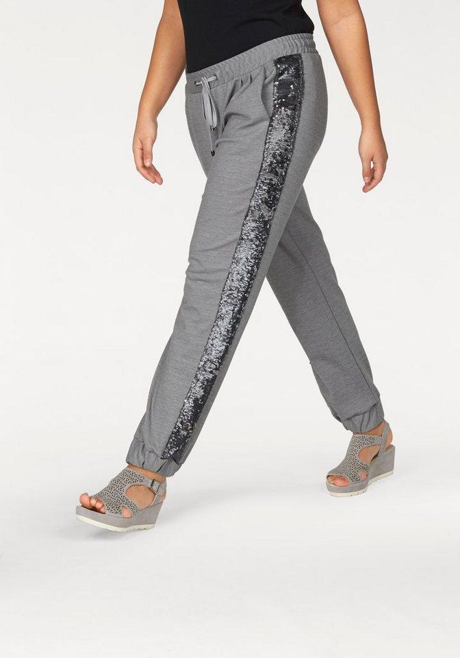 Apart Sweathose Plus Size mit zweifarbigen Pailetten in grau