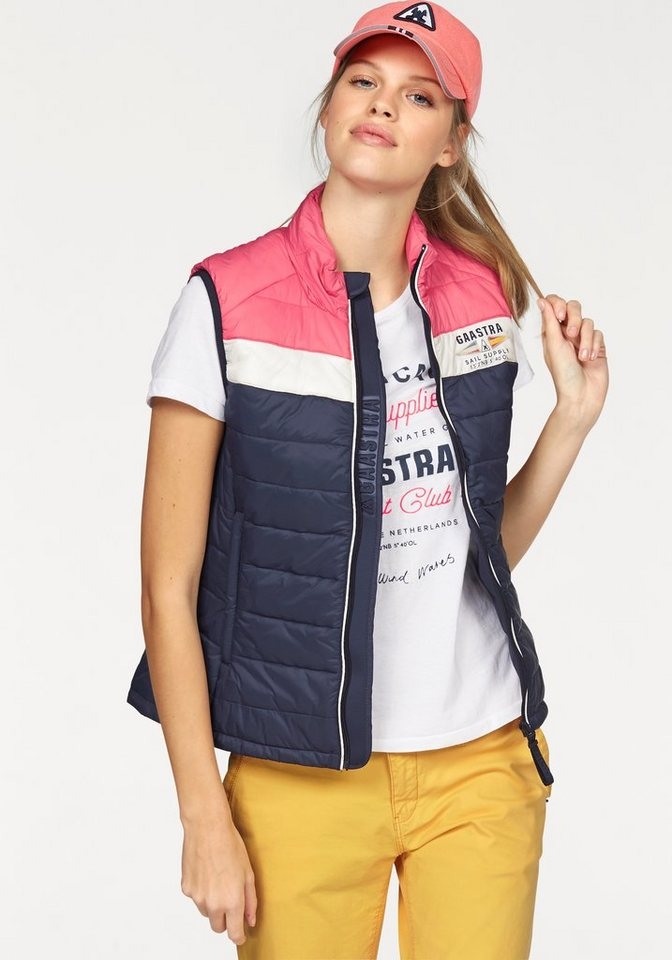 Gaastra Steppweste »List Block« im Colourblocking-Look in marine-rosa-weiß