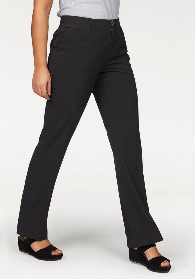 Apart Bügelfaltenhose Plus Size mit ausgefallenem Rippenbund in schwarz