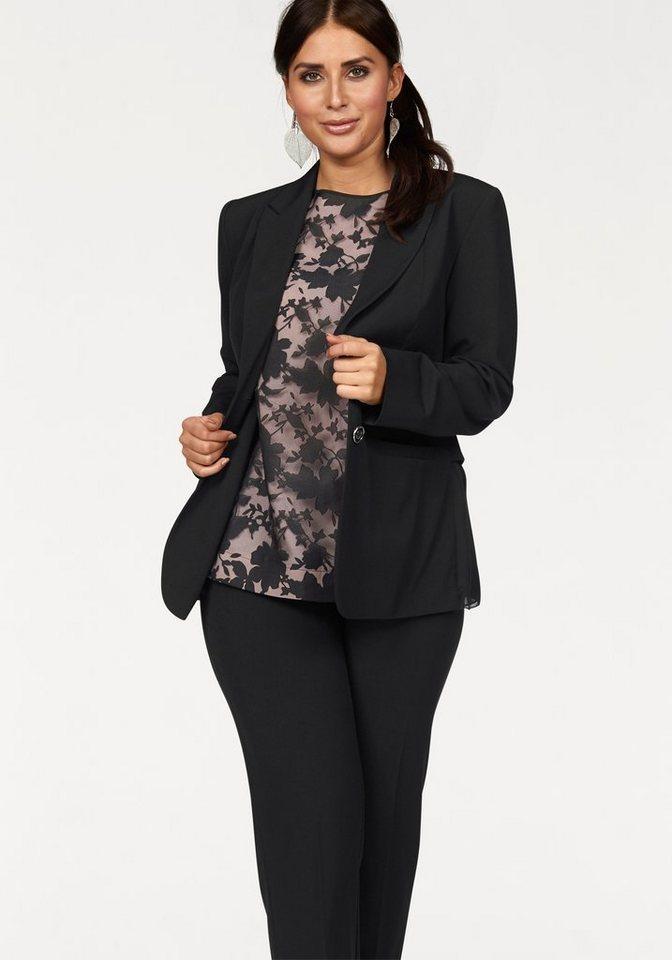 Apart Blazer Plus Size Rücken mit Georgette-Einsatz in schwarz