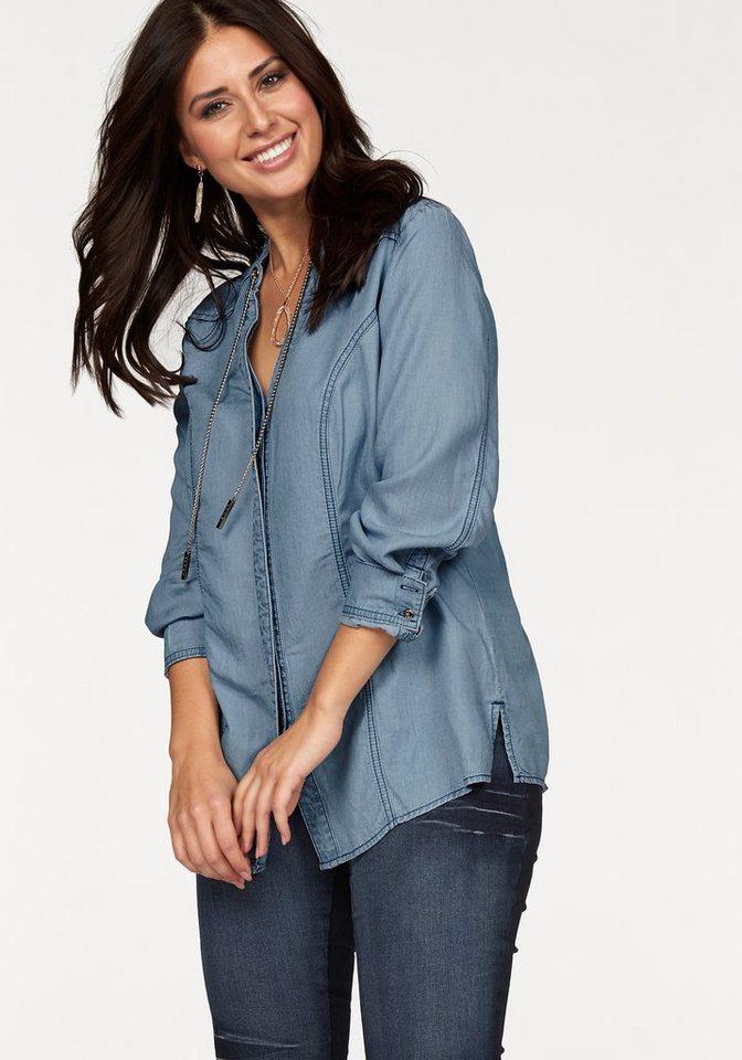 Apart Longbluse Plus Size mit goldfarbenen Elementen in jeans
